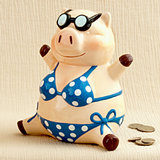 Large Multicolored ceramic little piggy banks/Centerpiece