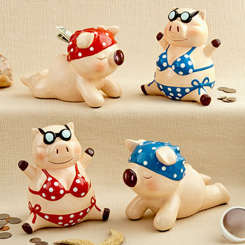 Multicolored ceramic little piggy banks (4 assorted - priced per pc)
