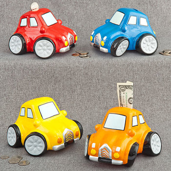 Multicolored ceramic car banks (4 assorted - priced per pc)