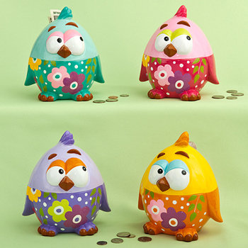 Multicolored ceramic baby chick banks (4 assorted - priced per pc)