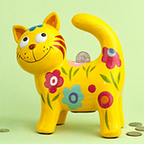 Multicolored ceramic kitty banks (4 assorted - priced per pc)