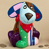 Multicolored ceramic doggy banks (4 assorted - priced per pc)