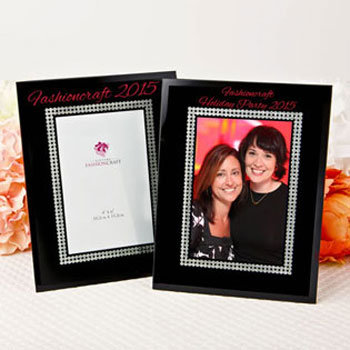 Silk Screend Personalized Black Glass Frame with Silver Glitter border