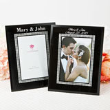 Silk- Screened personalized Black Glass Frame with Silver glitter border