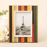 "Distressed wood look vertical striped frame 4"" x 6"""