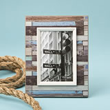 "Distressed wood look horizontal striped frame 4"" x 6"""