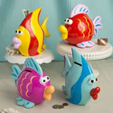 Large Fabulous Multicolored Fish Banks/Centerpiece