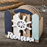 Ship's wheel coaster set with holder