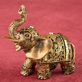 Gold elephant with gold mirror design and clear stones from gifts by fashioncraft