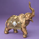 Stunning Gold elephant with shiny mirror design and clear stones from gifts by fashioncraft