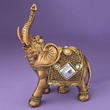 Jumbo Gold elephant with shiny mirror design and clear stones from gifts by fashioncraft