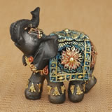 Mahogany Brown elephant with colorful headdress and blanket - mini  size
