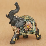 Mahogany Brown elephant with colorful headdress and blanket - small size