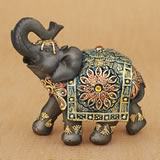 Mahogany Brown elephant with colorful headdress and blanket - medium size