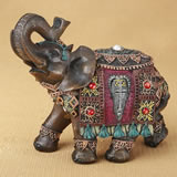 Ornate Indian elephant with colorful blanket and headdress - 6""