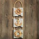 Triple hanging plaque - Ships Wheel, Anchor, Life Preserver