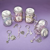Sentiment flowers Mason Jar with key ring