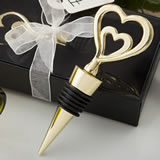 Gold double heart design all metal bottle stopper