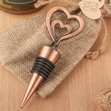 Double heart bottle stopper in antique copper finish