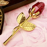 Choice Crystal Gold long stem red Rose from fashioncraft