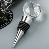 Choice Crystal Chrome Bottle Stopper With Glass Crystal Heart Top