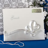 Engraved Interlocking Hearts Design Wedding Guest Book