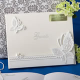 Engraved Butterfly Design Wedding Guest Book