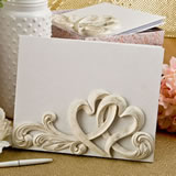 Vintage style double heart design guest book from fashioncraft