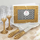 Gold lattice botanical collection set, consisting of a cake knife set, a flute set and a guest book