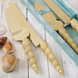 Conch sea shell design knife and engraved server set