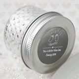 Personalized Metallics Collection crystal mason jelly jar with quilted embossed design