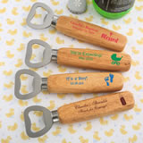 Baby Shower Design your own collection Wood handle bottle opener with solid stainless steel top open