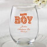 Personalized 15oz Stemless Wine Glasses - marquee design