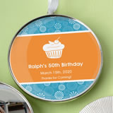Birthday, Graduation Personalized expressions Silver metal round ornament with white hanging satin r