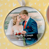Personalized expressions Silver metal round ornament with white hanging satin ribbon