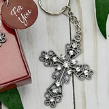 Silver cross with stones key chain