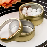 Perfectly Plain Collection Gold metal mint tin with a clear plastic top