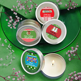 <em>Design Your Own Collection</em> Scented Round Travel Candles - Holiday Themed