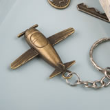 Vintage airplane design all metal key chain in antique brass color finish