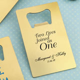 Design Your Own Personalized Credit Card brushed gold Stainless Steel Bottle Opener