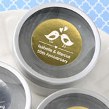 Anniversary, Baby Shower, Birthday Personalized Metallics Collection Scented Round Travel Candles
