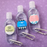 Baby Showerr Personalized expressions Hand sanitizer in a clear plastic container with flip open top