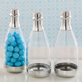 Perfectly plain silver accented clear champagne bottle container