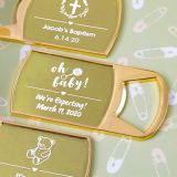 Baby Shower Personalized metallic collection epoxy dome gold metal bottle opener