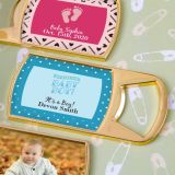 Baby Shower Personalized expressions epoxy dome gold metal bottle opener