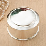 Glorious Silver round Hinged jewel box from gifts by fashioncraft