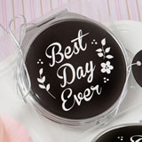 'Best Day Ever' silver metal compact mirror with black epoxy top