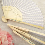 Personalized Collection Silver scallop folding fan favor