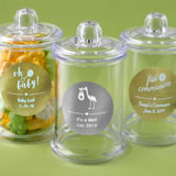 Baby Shower Personalized metallic collection clear acrylic apothecary jar with lid