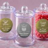 Anniversary, Birthday, Graduation Personalized metallic collection clear acrylic apothecary jar with